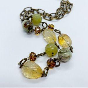 Rutilated Quartz Green Stones Bead Chain Necklace